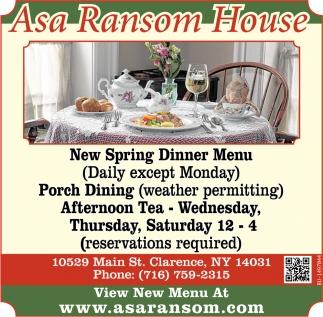 New Spring Dinner Menu
