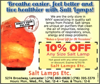 10% Off Any Size Salt Lamp