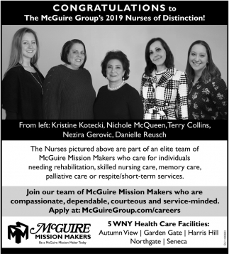 Congratulations to The McGuire Group's 2019 Nurses of Distinction!