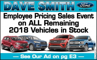 Employee Pricing Sales Event On All Remaining 2018 Vehicles in Stock