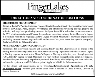Director & Coordinator Positions