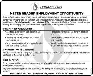 Meter Reader Employment Opportunity