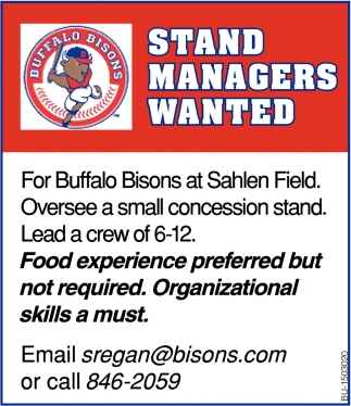 Stand Managers Wanted