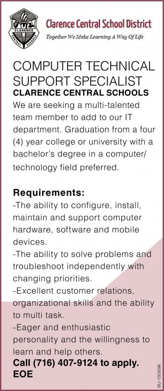 Computer Technician Support Specialist