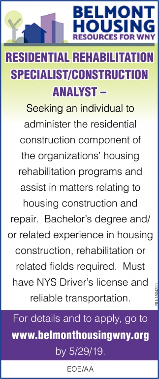 Residential Rehabilitation Specialist/ Construction Analyst