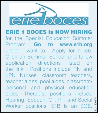 Erie 1 Boces is Now hiring for the Special Education Summer Program