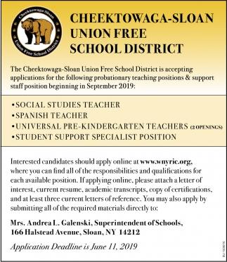 Various Job Openings, Cheektowaga-Sloan Union Free School
