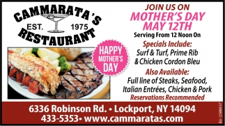 Join Us On Mother's Day May 12th