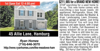 $211,985 for a Brand New Home!