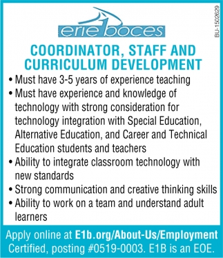 Coordinator, Staff and Curriculum Development