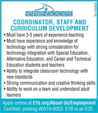 Coordinator, Staff and Curriculum Development