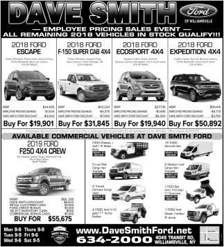 East Fayetteville Auto Sales >> Employee Pricing Sales Event, Dave Smith Ford, Williamsville, NY