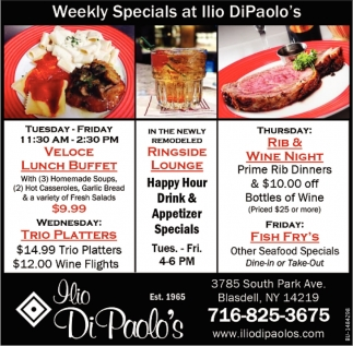 Weekly Specials at Illio DiPaolo's