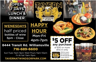Open 7 Days Lunch & Dinner