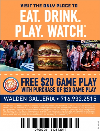 Visit the Only Place to Eat. Drink. Play. Watch