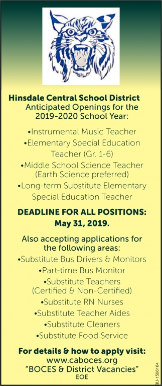 Anticipated Openings for the 2019-2020 School Year