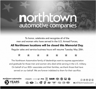 All Northtown Locations Will be Closed this Memorial Day