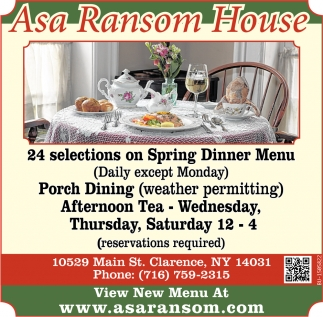 24 Selections on Spring Dinner Menu
