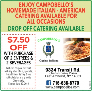 Drop Off Catering Available