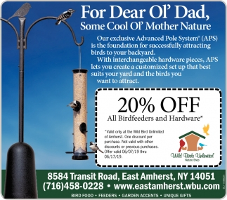 20% OFF All Birdfeeders and Hardware