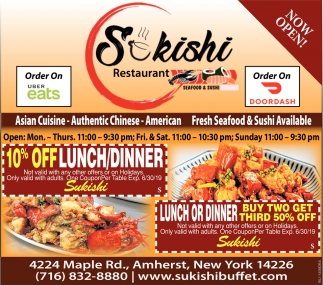 Now Open Sukishi Buffet Amherst Ny