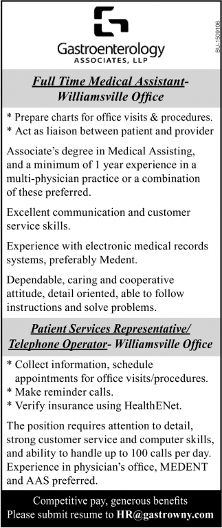 Medical Assistant & Patient Services Representative/ Telephone Operator