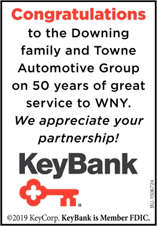 Congratulations to the Downing Family and Towne Automotive Group On 50 Years of Great Service to WNY