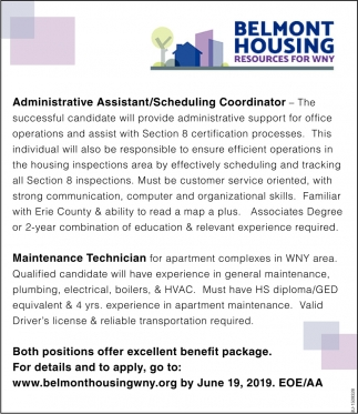 Administrative Assistant/ Scheduling Coordinator & Maintenance Technician