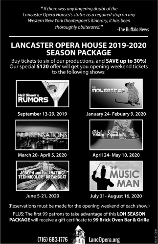 Lancaster Opera House 2019-2020 Season Package