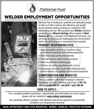 Welder Employment Opportunities