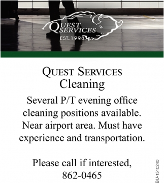 Part Time Evening Office Cleaning Positions Available