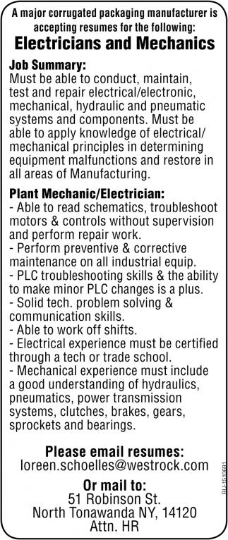 Electricians and Mechanics