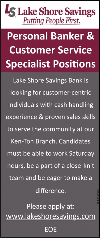 Personal Banker & Customer Service Specialist Positions