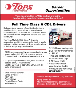 Full Time Class A CDL Drivers