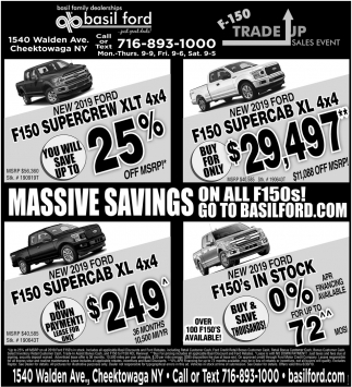 Massive Savings On All F150s!