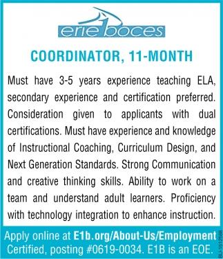 Coordinator, 11- Month
