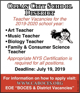 Teacher Vacancies for the 2019-2020 School Year