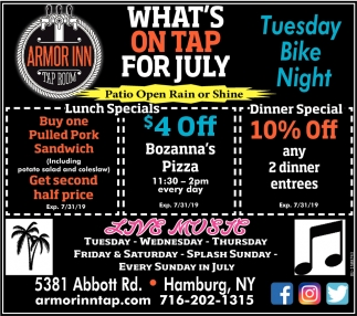 What's On Tap for July