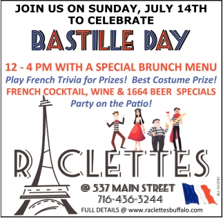 Join Us on Sunday, July 14th to Celebrate Bastille Day
