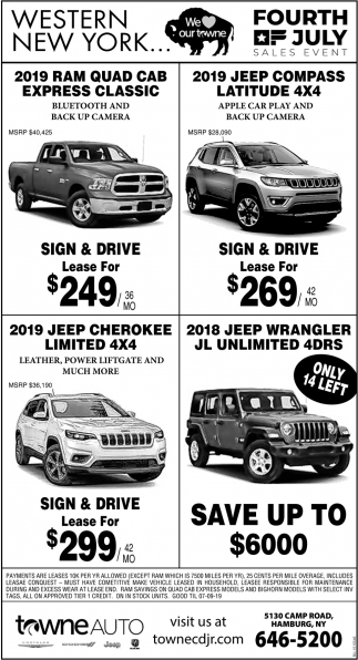 Towne Auto Sales >> Fourth Of July Sales Event Towne Auto Orchard Park Ny