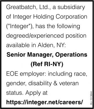 Senior Manager, Operations