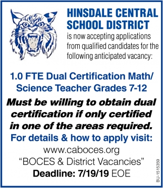 1.0 FTE Dual Certification Math/ Science Teacher Grades 7-12