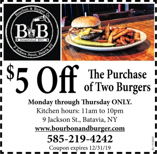 $5 OFF the Purchase of Two Burgers
