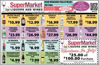 The Best Selection of Liquor & Wine in Western New York is at Supermarket Liquors & Wines