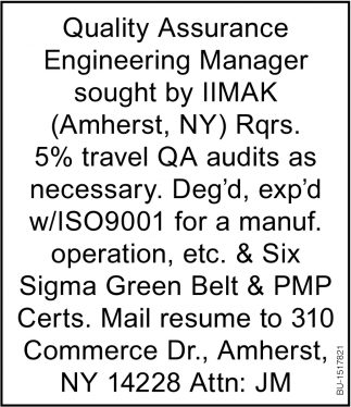 Quality Assurance Engineering Manager
