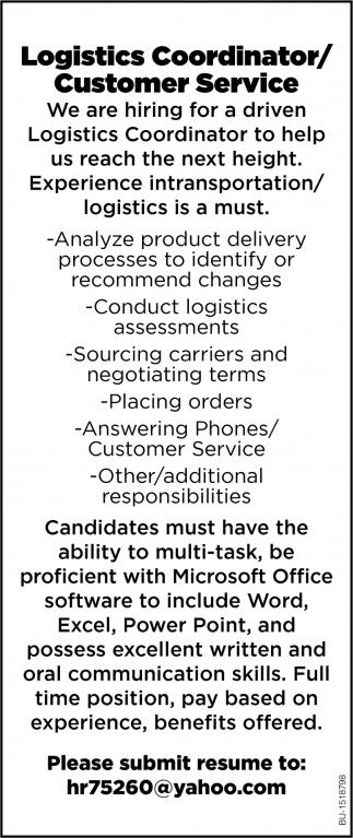 Logistics Coordinator/ Customer Service