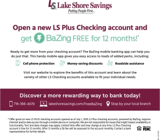 Open a New Plus Checking Account and Get BaZing FREE for 12 Months!
