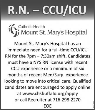 R.N. - CCU/ICU