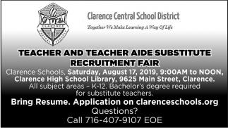 Teacher and Teacher Aide Substitute Recruitment Fair