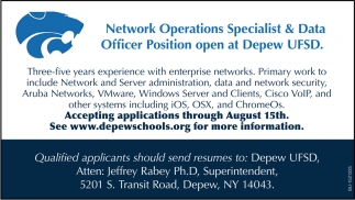 Network Operations Specialist & Data Officer Position